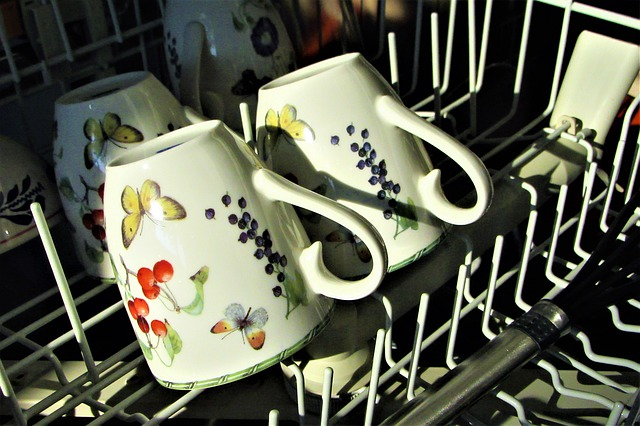 coffee mugs in a dishwasher